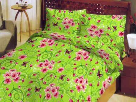 Ткань бязь набивная ГОСТ пл 140 гр ширина 150 см 130-1 Весна зеленая