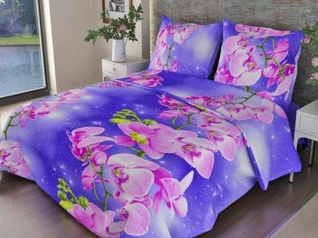 Ткань бязь набивная ГОСТ пл 140 гр ширина 150 см 306-1 Орхидеи фиолетовые