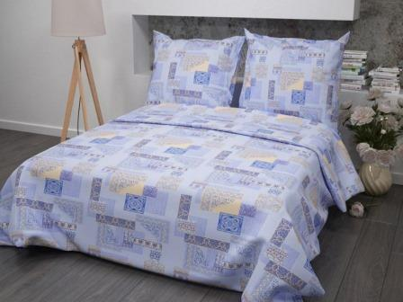 Ткань бязь набивная ГОСТ пл 140 гр ширина 150 см 356-1 Арабеска голубая