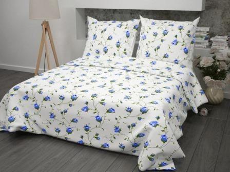 Ткань бязь для постельного белья 117-2 Чайная роза синий