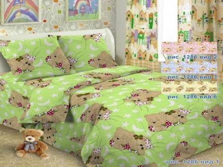 Купить оптом ткань бязь ГОСТ детская от производителя 1286 вид 1 мишки соня зеленые