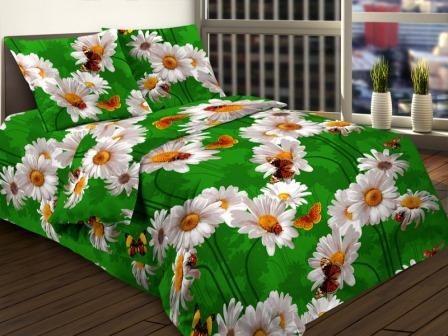 Ткань бязь для постельного белья 135-1 ромашка на зеленом