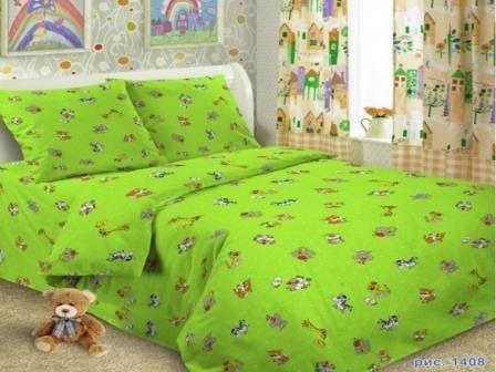 Купить оптом ткань бязь ГОСТ детская от производителя 1408 Зоопарк зеленый