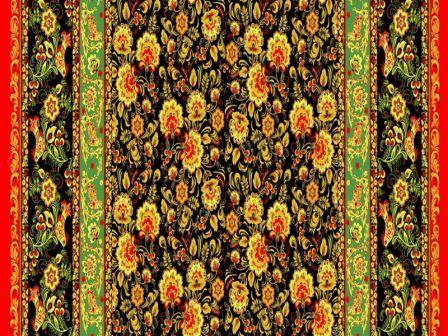 Вафельная скатерть на стол 150х150 см хохлома красная 18769 вид 1