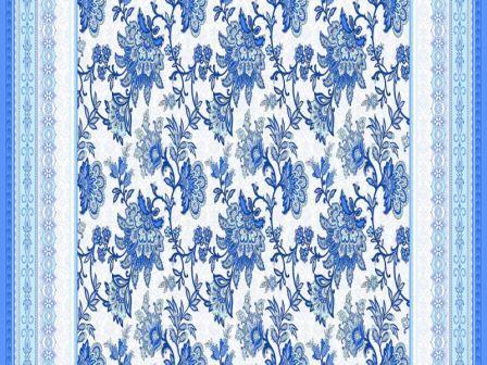 Вафельная скатерть на стол 150х180 см гжель синяя 18817 вид 1
