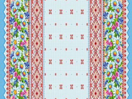 Вафельная скатерть на стол 150х180 см синие ромашки 18825 вид 1