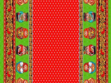 Вафельная скатерть на стол 150х220 см матрешка красная 21049 вид 1
