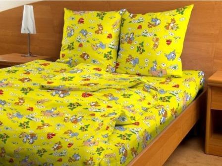 Бязь детская 100 гр/м2 150 см 3030 веселые зайчата желтые
