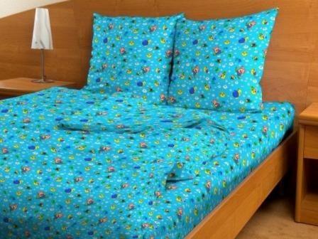 Купить оптом ткань бязь детская от производителя 3084 Веселое солнышко голубое