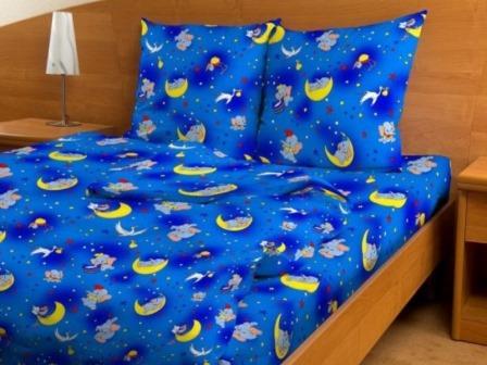 Бязь детская 100 гр/м2 150 см 3093 звездный слоник голубой