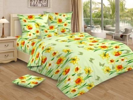 Ткань Ивановская бязь набивная пл 100 гр ширина 150 см 3170 Весенний денек зеленый вид 1