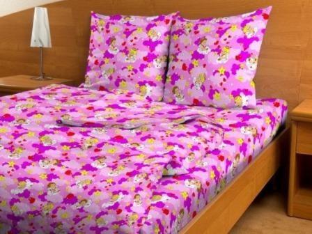 Купить оптом ткань бязь детская от производителя 3728 Ангелочки розовые