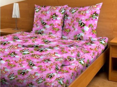 Бязь детская 120-125 гр/м2 150 см 4156 панды розовые
