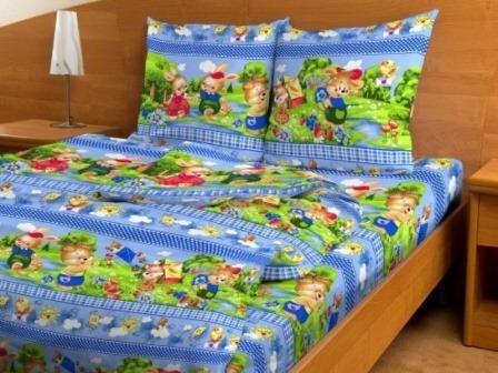Купить оптом ткань бязь детская от производителя 4183 Веселый поход голубой