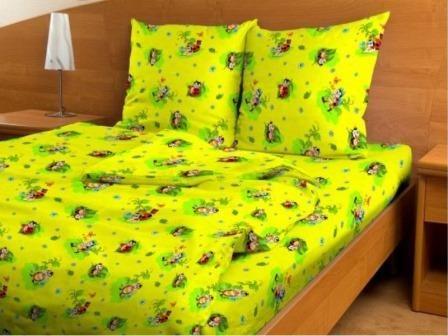 Купить оптом ткань бязь детская от производителя 4334 Веселые жучки желтые