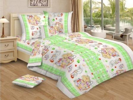 Купить оптом ткань бязь детская от производителя 7016 Мишка и друзья зеленые