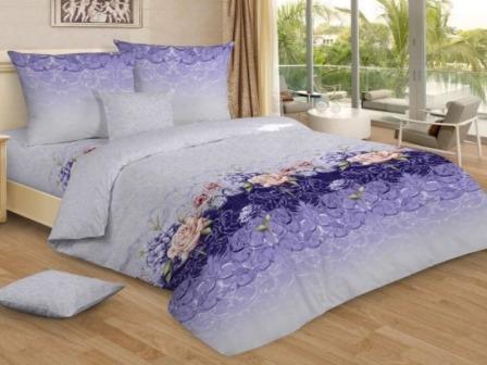 Ткань бязь набивная широкая пл 120-125 гр/м2 ширина 220 см 7243 лиловые сны вид 1