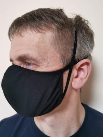 Черная маска трикотаж вид 2