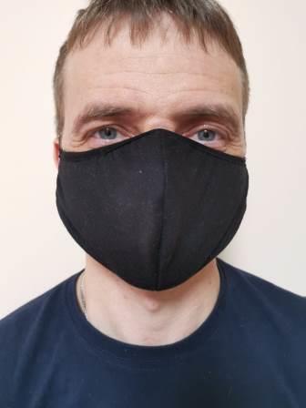 Черная маска трикотаж вид 3