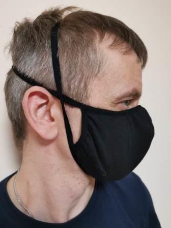 Черная маска трикотаж вид 1