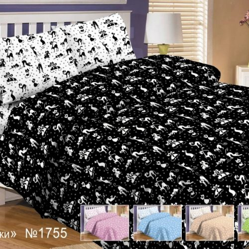 Поплин детский кошки белые на черном
