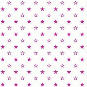 Поплин детский 150 см розовые звезды на белом арт. 1907