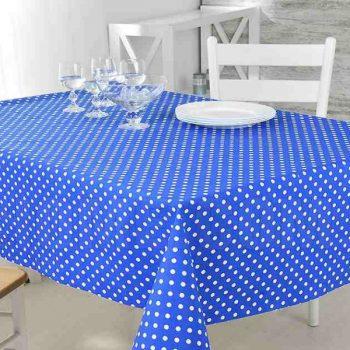 Скатерть из рогожки 100*100 см 568-5 белый горох на синем