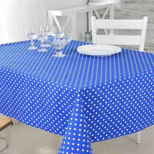 Скатерть из рогожки 568-5 белый горох на синем фоне