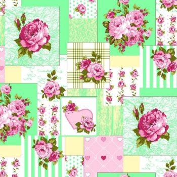Скатерть из рогожки 145*145см 570-1 пэчворк зеленый