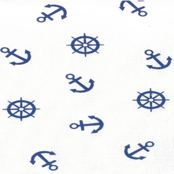 Скатерть из рогожки 110*140 см 639-3 синие якоря на белом
