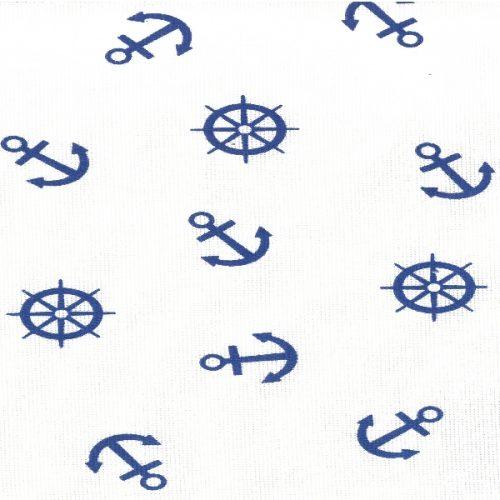 Скатерть из рогожки 639-3 синие якоря на белом